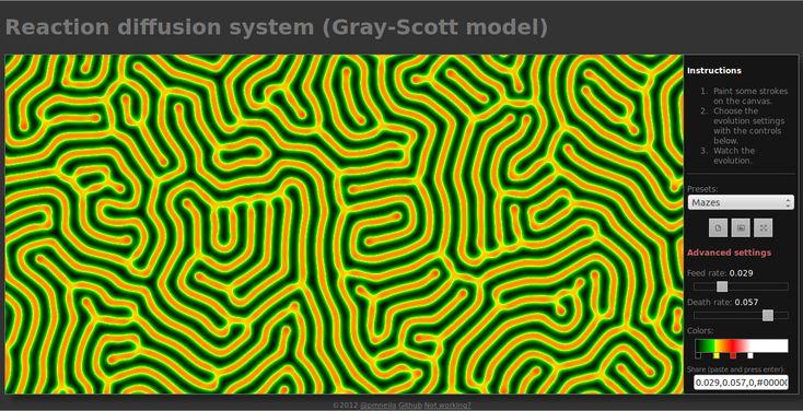Create belle immagini risolvendo un'equazione differenziale / Beautiful images from solving reaction diffusion equation (Chrome experiment)