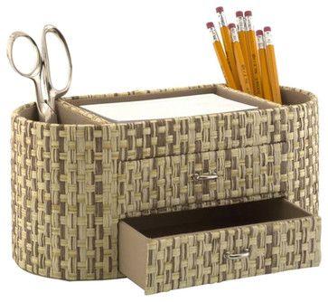 Kathy Ireland by Bush Desktop Organizer in Grass Weave-Natural - transitional - Desk Accessories - Cymax