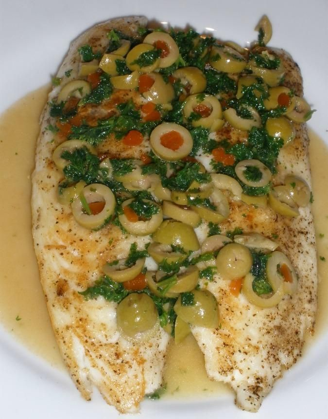 Pan fried fish with a brown butter, olive and parsley sauce via @My Cooking Pots
