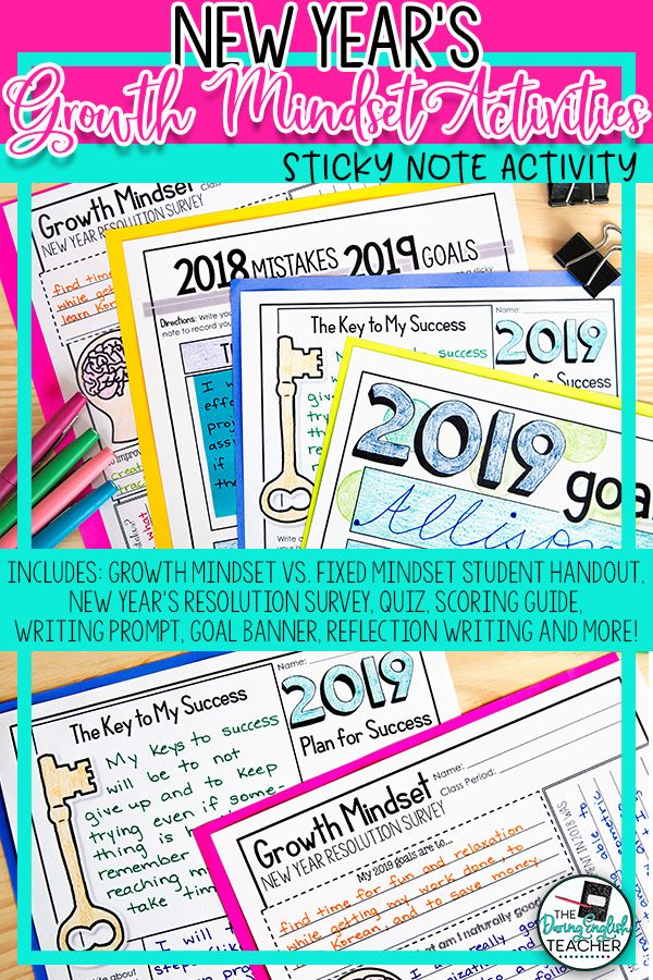 New Year S Resolution Growth Mindset Sticky Note Activities