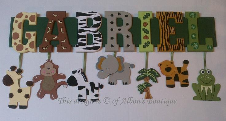 5 Letter Name Custom Jungle Zoo Safari Themed Name Sign