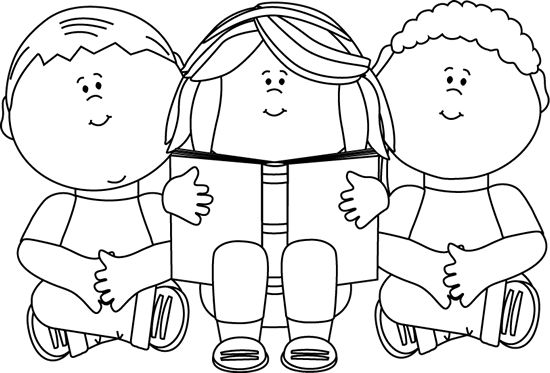 clip art black and white | Black and White Kids Reading Clip Art Image - black and white outline ...(would be so cute done on a bookmark.)