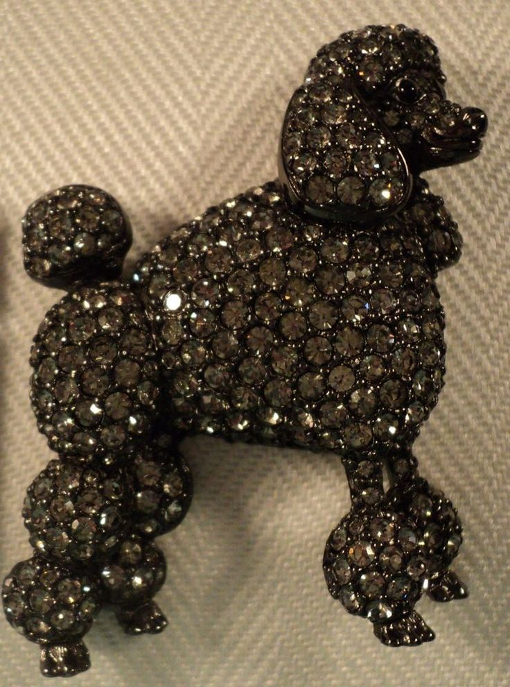 Signed Swan Swarovski Gunmetal Grey Black Diamond Poodle Brooch Pin $400