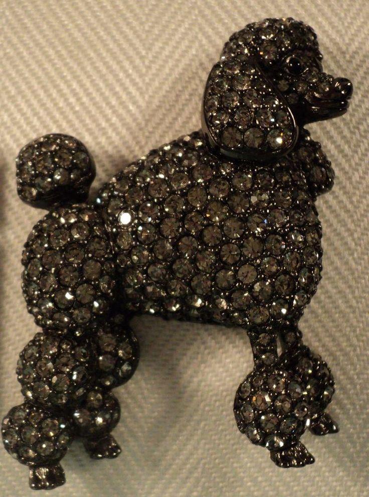 Black poodle brooch