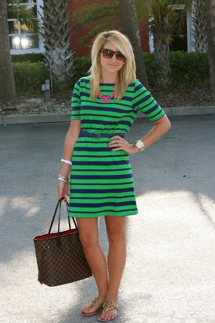 Green & Navy Stripe Sleeved Dress, Tory Burch Sandals, Louis Vuitton bag. ALL OF IT. YES, PLEASE!