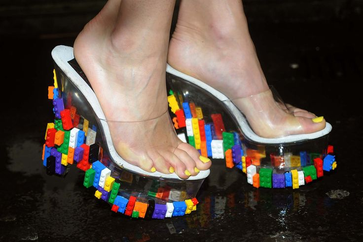 Lego dress and shoes displayed ahead of London Fashion Week