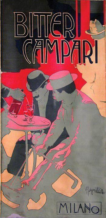 BITTER CAMPARI di Milano; poster Art Nouveau pubblicitario storico di un Classico Prodotto Agroalimentare Italiano, illustrato da Adolfo Hohenstein nel 1901.