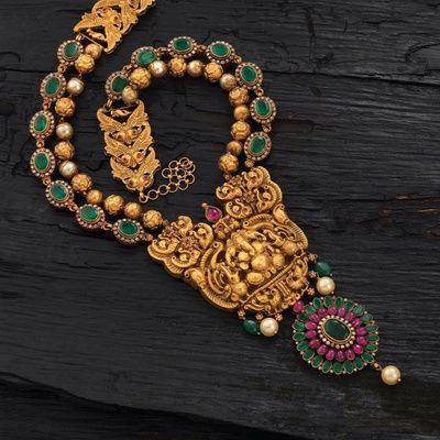 temple jewellery necklace , long raani haar, temple jewellery necklace , emerald and amethyst necklace
