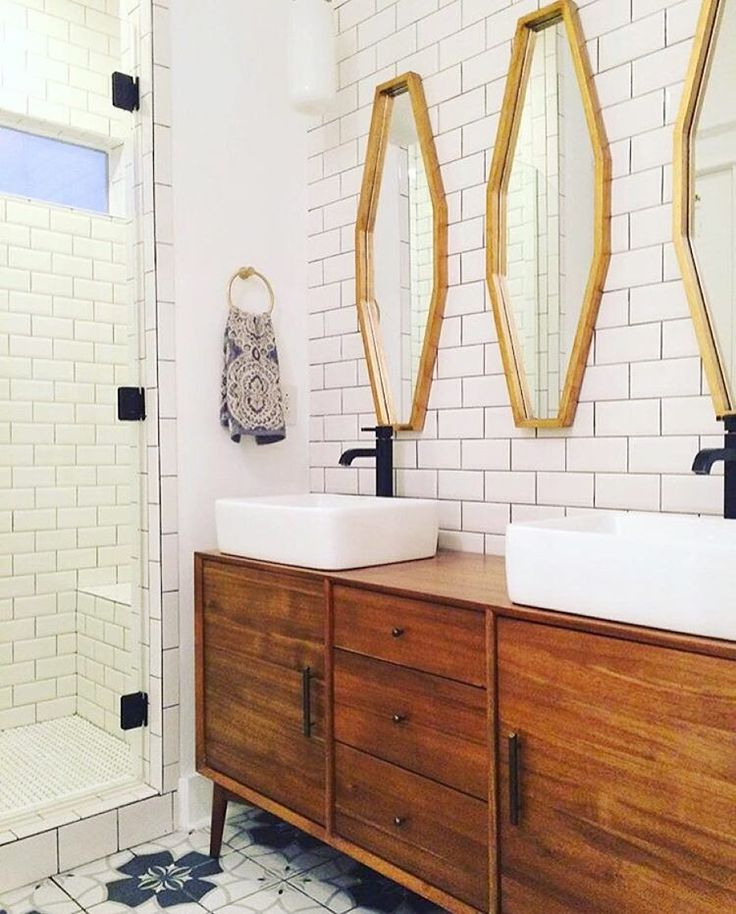 "One Kings Lane on Instagram: ""Major snaps to @pellegrinmandy and her stunning bathroom redesign! Loving the use of a mid-century credenza turned vanity. Tap the link in our profile to shop these sleek mirrors she used to complete the look. #myoklstyle #regram"""