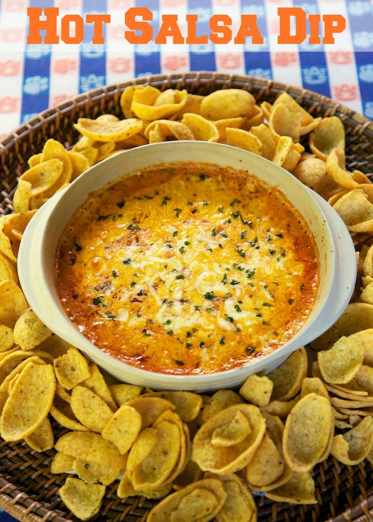 Hot Salsa Dip - baked cream cheese, cheddar and salsa - great for tailgating and parties!
