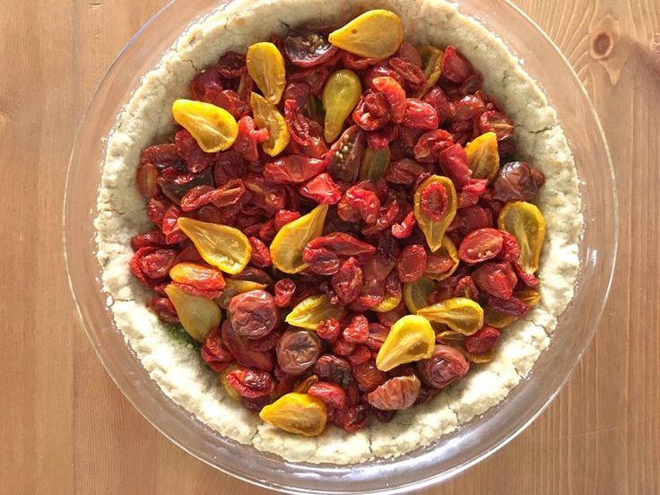 "Vegan tomato tart with lemon arugula pesto | ""The Mothers"" book club menu"
