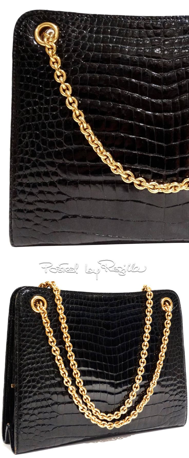 Regilla ⚜ Gucci, Black Crocodile Handbag 1950s