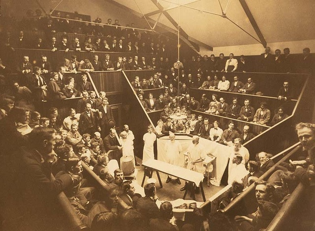 Dr. Levi Cooper Lane (1828-1902)  in surgical amphitheater at Cooper Medical College with Dr. Richard H. Plummer (1840-1899) by Stanford Medical History Center, via Flickr