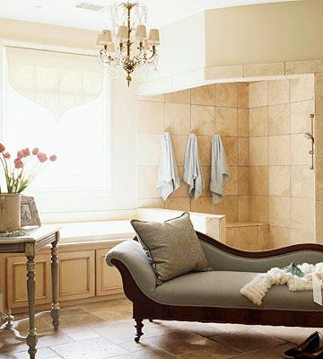 152 best french country bath images on pinterest for Bathroom chaise lounge