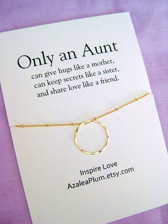 AUNT Necklace Gold Eternity Circle For Aunt 50th Birthday Gift Jewelry