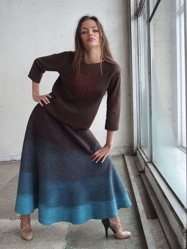 """Купить Юбка валяная """"GILLIAN"""" - комбинированный, абстрактный, юбка длинная, валяная юбка"""