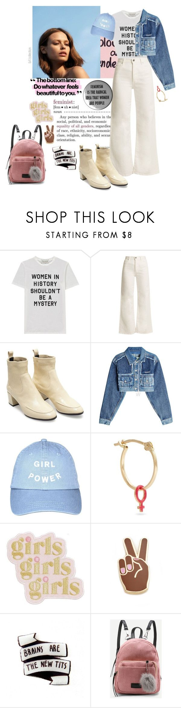 """""""Loud and Proud: Girl Pride#262"""" by zeyleezh ❤ liked on Polyvore featuring Être Cécile, Eve Denim, Pierre Hardy, Off-White, Alison Lou, ban.do, Georgia Perry, womensHistoryMonth, pressforprogress and GirlPride"""