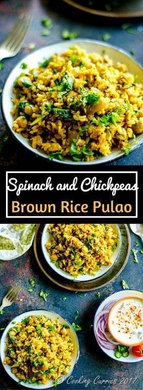 Spinach and Chickpeas Borwn Rice Pulao  A filling and delicious one-pot meal of Spinach and Chickpeas along with some spices, this Palak Chole Brown Rice Pulao is the perfect way to use up any leftover brown rice you may have.