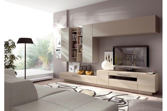 Mueble de salón modular nórdico/ visón - Merkamueble