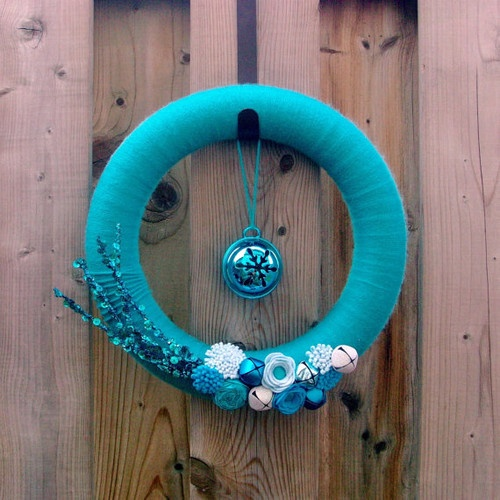 Blue Christmas Yarn Wrapped Wreath by Morning Songbird modern holiday decorations