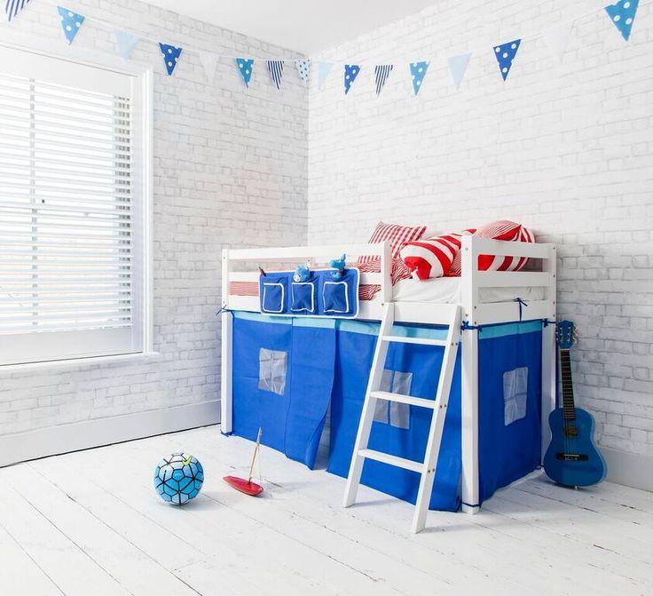 Brilliant Blue Ontario Midsleeper Shorty Cabin Bed in Blue   £119.99   #CabinBed #KidsBed #HomeDecor