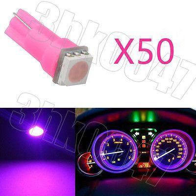 50x Pink T5 1SMD LED Wedge Gauge Dashboard Panel Instrument Cluster Light Bulbs