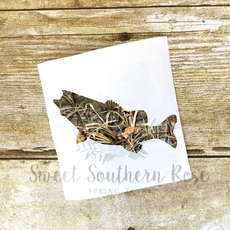 Camo Bass Fish YETI Decal, Camouflage Decal, Men's Decal
