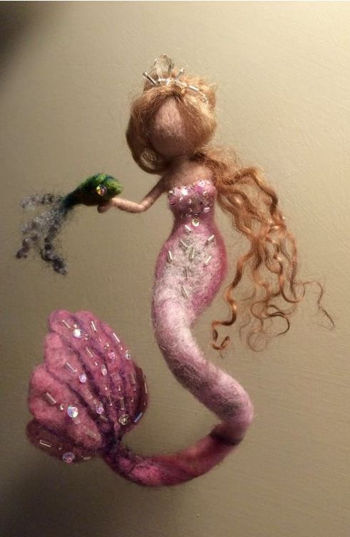 felted mermaid doll