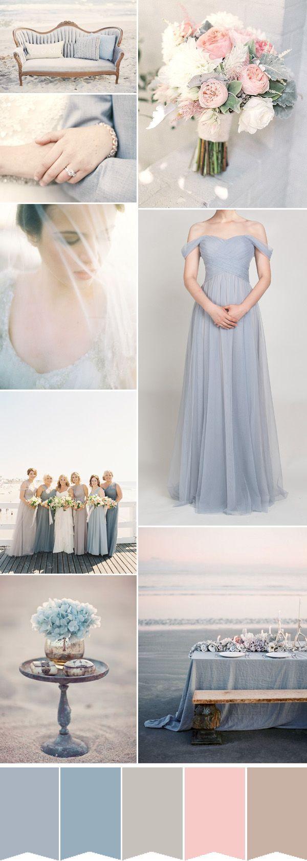 romantic dustry blue beach wedding ideas