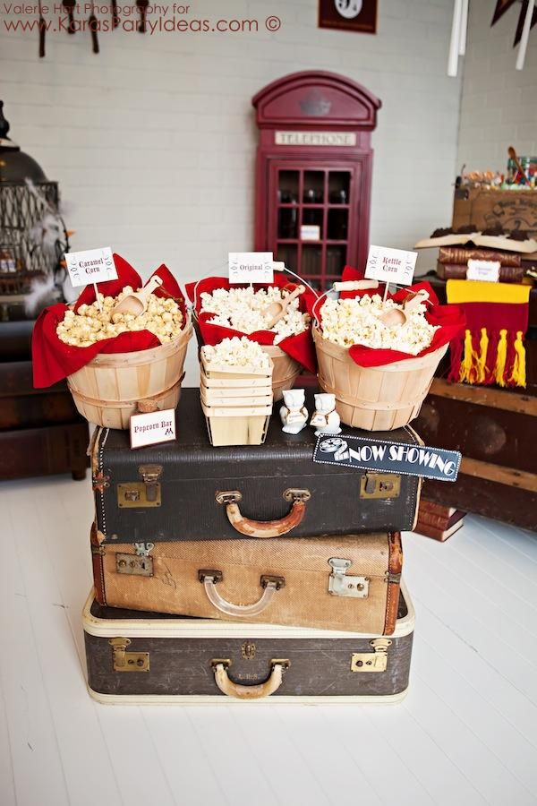 Popcorn Bar! Harry Potter Party Planning Ideas Cake Decor Supplies Printables Invitation