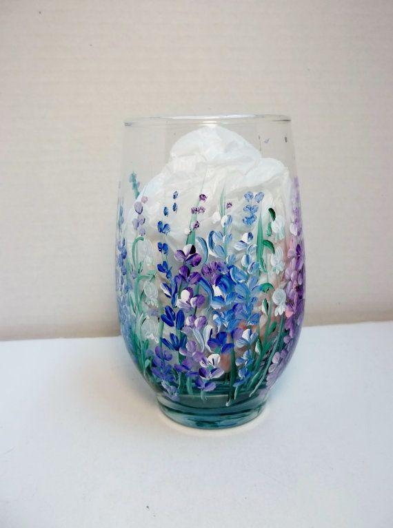 A Single Glass Tumbler Juice Water Glass Hand by FolkArtByNancy