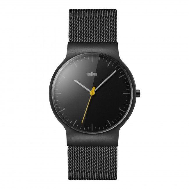 Gents BN0211 Classic Slim Watch - Black Dial and Black Mesh Bracelet
