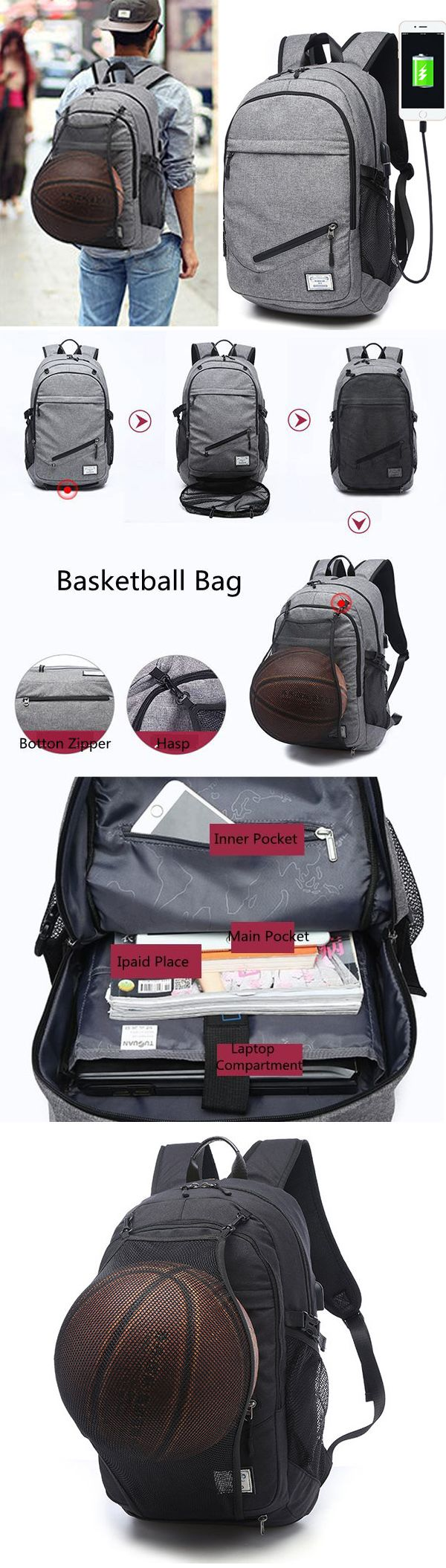 Outdoor Travel Canvas Backpack Laptop Bag Basketball Bag With USB Socket is  high-quality. Shop on NewChic and buy the best mens backpack for yourself. 3c8ab05232acf
