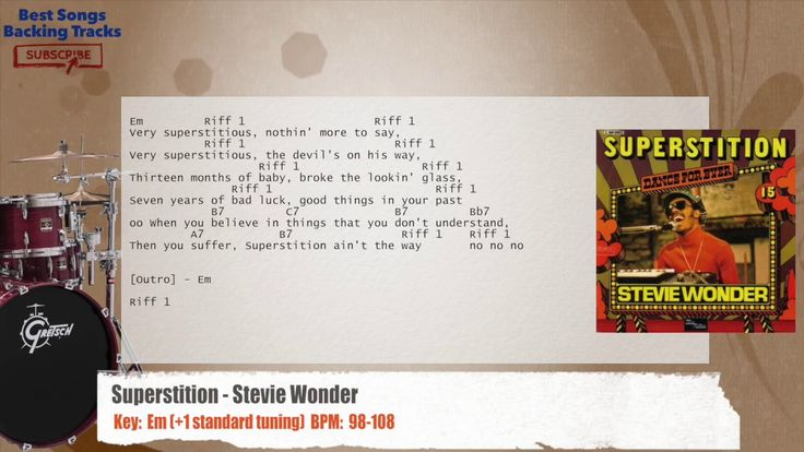 Superstition - Stevie Wonder Drums Backing Track with chords and lyrics