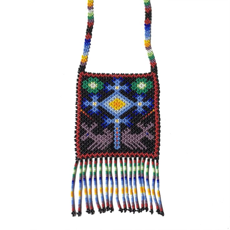 Eye of God and Deer Huichol Story Necklace.