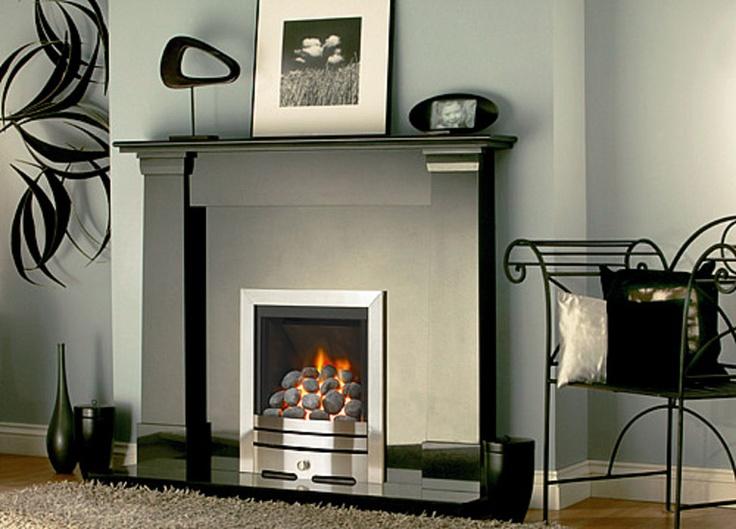 White Fireplace With Black Granite Part - 38: Darwyn Black Granite Fireplace- The Fireplace Factory