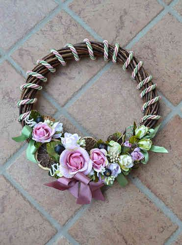 LARGE SIZED WREATH – Old Rose - PatriziaB.com  Handcrafted wreath, woven from wicker, embellished with silk cordon spirals and a refined decoration of rosettes, berries and satin ribbons