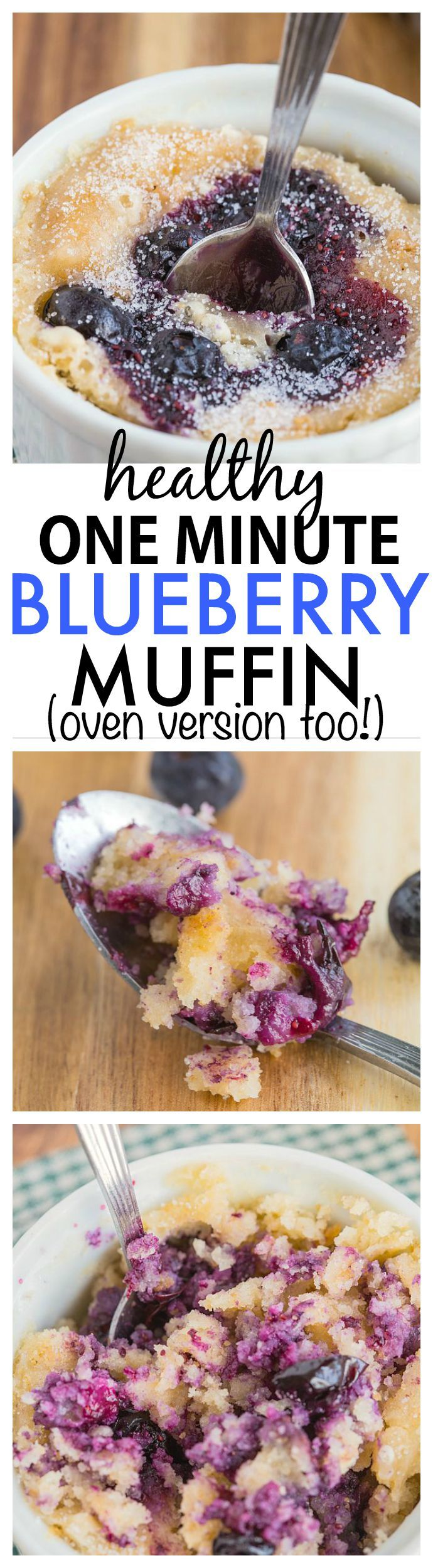 Healthy 1 Minute Blueberry Muffin Recipe- Inspired by Starbucks, you only need one minute to whip this healthy, moist, fluffy and delicious mug muffin cake- There is an oven version too! {vegan, gluten-free, paleo options}