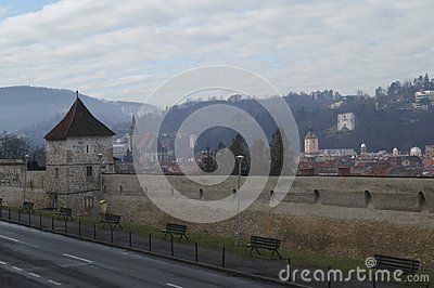 The walls of the old fortress and the panorama of Brasov, Romania, Transylvania