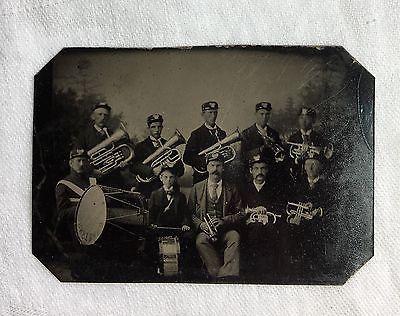 tin type photo 10 Man men band playing instruments Antique Drum Trumpet Baritone
