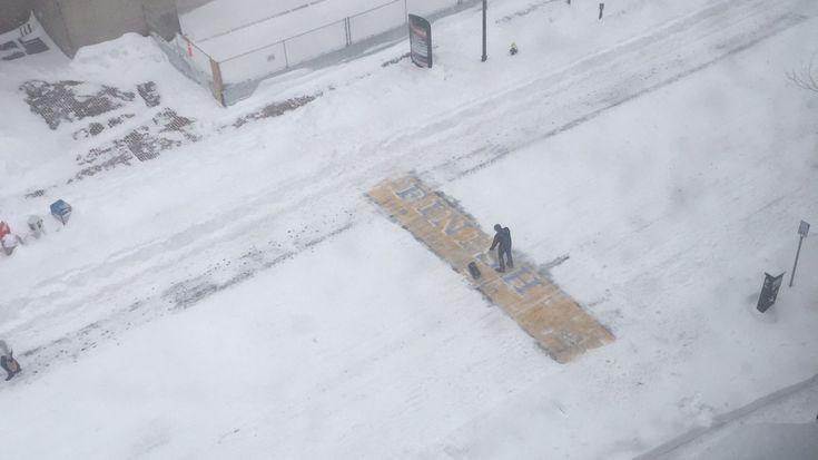 Mystery shoveler clears snow from Boston Marathon finish line during blizzard