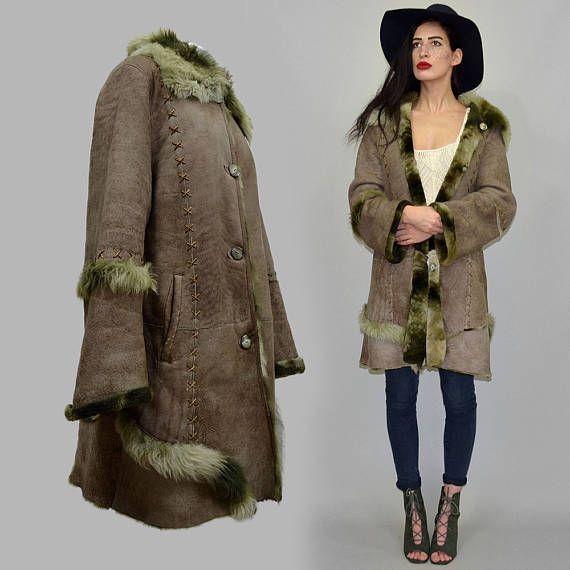 TILDA Vintage Shaggy de Bell Toscana corte piel de cordero trenzada Hippie abrigo años 70 cabo manta Anorak drapeado étnica nativa Navajo chaleco Boho
