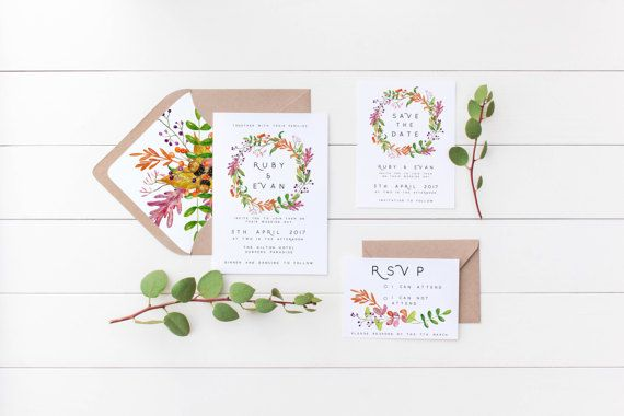 Summer Leaves Wedding Invitation Suite the Ruby Suite Floral