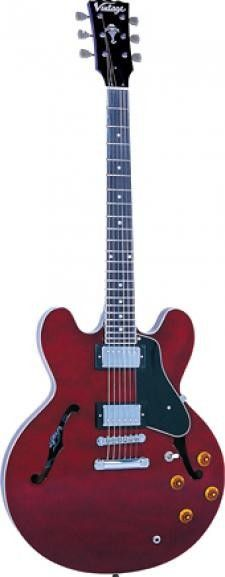 Vintage VSA535CR Reissued Series Semi Acoustic Guitar - Cherry Red