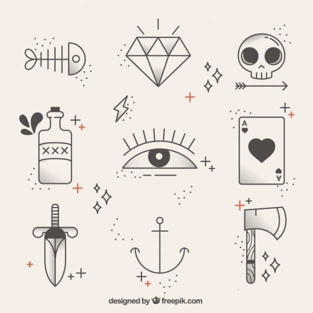 Collection of linear tattoos Free Vector Doodle Drawings, Easy Drawings, Doodle Art, Tattoo Drawings, Tiny Skull Tattoos, Body Art Tattoos, Small Tattoos, Easy Tattoos To Draw, Sharpie Tattoos
