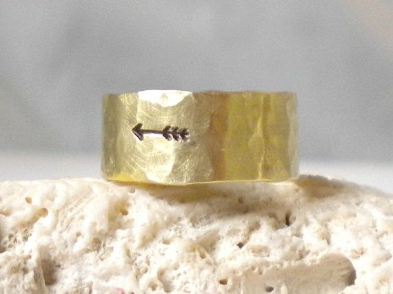 Mens Arrow Ring Hammered Gold Brass Band Ring by EagleRowe on Etsy, $19.50