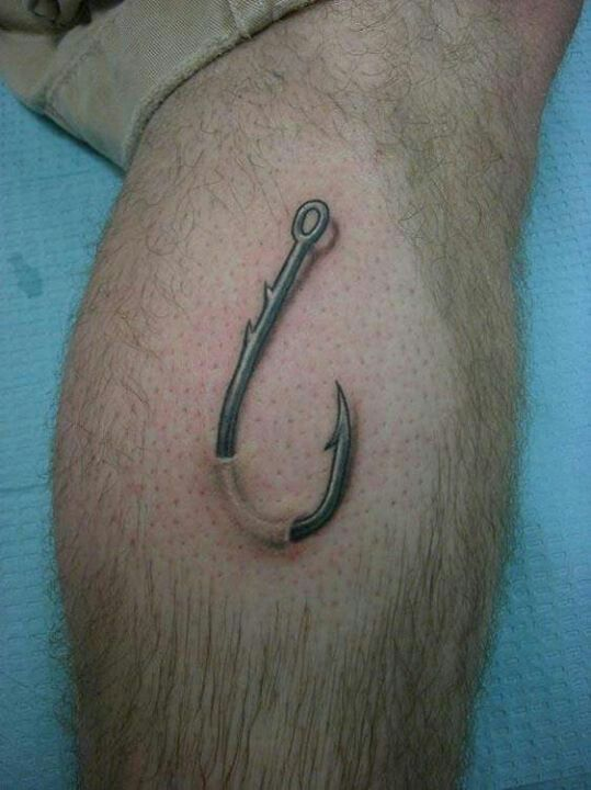 Fish hook in Skin tattoo | Tats | Pinterest