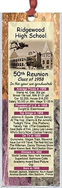 Class Reunion Favors - These bookmarks are personalized with your school's photo andfun facts from the year you graduated. More at  http://www.photo-party-favors.com/class-reunion-favors.html