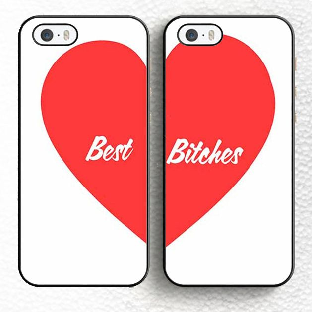2pcs/lot Best Bitches Love Heart Pair Matching Phone Case Skin For iPhone 6 6S Plus 7 7 Plus 5 5S 5C SE 4 Rubber Soft Cell Cover