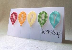 handmade birthday card ... Balloon Bash ... short and wide format ... polka do papers in brith colors die cut into balloon shapes with negative space die cut letters spelling H by nanette